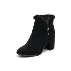 Belle/百丽2017冬季新品专柜同款黑色羊绒皮革女皮靴BXJ45DD7