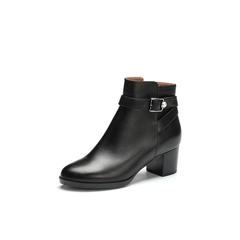 Belle/百丽2017冬季新品专柜同款黑色油皮牛皮女短靴BFNB2DD7