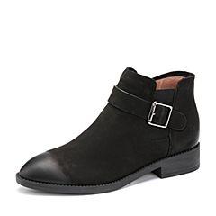 Belle/百丽2017冬季专柜同款黑色珠光磨砂牛皮女短靴BPB46DD7