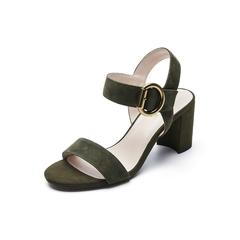 Belle/百丽夏季专柜同款墨绿羊绒皮革女皮凉鞋BPFA9BL7
