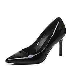 Belle/百丽2017秋黑色简约百搭漆皮牛皮尖头细高跟女单鞋BOW06CQ7