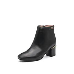 Belle/百丽2017冬季新品专柜同款黑色油皮牛皮女短靴BAA40DD7