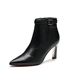 Belle/百丽2017冬季新品专柜同款黑色油皮牛皮女短靴BZF45DD7