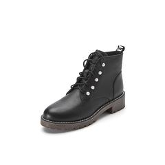 Belle/百丽2017冬季新品专柜同款黑色油皮牛皮女短靴BZT40DD7
