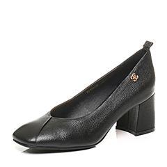 Belle/百丽2017秋季新款黑色牛皮奶奶鞋复古方头粗高跟浅口女单鞋108-2CQ7