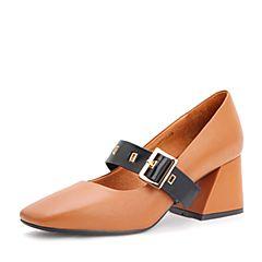 Belle/百丽2017秋季新品棕/黑牛皮玛丽珍鞋一字扣带复古方头女单鞋17066CQ7