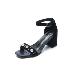 Belle/百丽夏季专柜同款黑色羊绒皮革女凉鞋R5E1DBL7