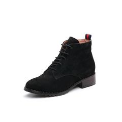 Belle/百丽2017冬季新品专柜同款黑色羊绒皮女短靴BQU50DD7