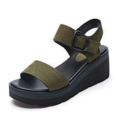 Belle/百丽夏季专柜同款军绿牛剖层皮革女皮凉鞋R5H1DBL7