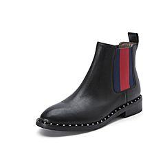 Belle/百丽冬季专柜同款黑色油皮牛皮女短靴BKD52DD7