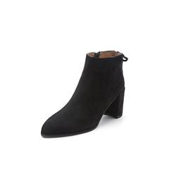 Belle/百丽冬季专柜同款黑色羊绒皮女短靴BRY41DD7