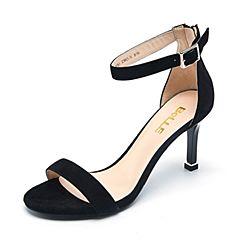 Belle/百丽夏专柜同款黑色羊绒皮革女皮凉鞋BLWA5BL7