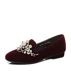 Belle/百丽2017新款秋季酒红色复古精致绒布女鞋BLY24CM7