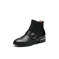 Belle/百丽2017冬季新品专柜同款黑色油皮牛皮女短靴3C3X4DD7