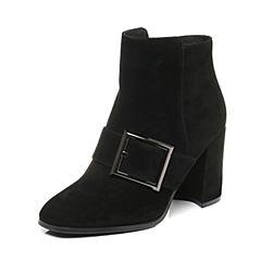 Belle/百丽2017冬黑色时尚羊绒皮女短靴73784DD7