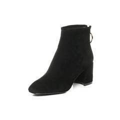 Belle/百丽2017冬黑色时尚羊绒皮女短靴51388DD7
