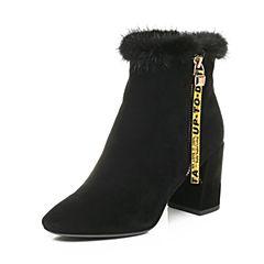 Belle/百丽2017冬黑色时尚优雅粗高跟羊绒皮女短靴17710DD7