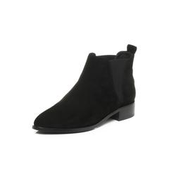 Belle/百丽2017冬黑色时尚休闲切尔西羊绒皮女皮靴27201DD7