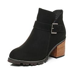 Belle/百丽2017冬黑色时尚休闲羊绒皮女短靴16882DD7