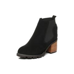 Belle/百丽2017冬黑色时尚休闲羊绒皮女短靴16881DD7