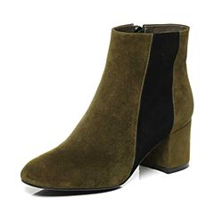 Belle/百丽2017冬绿/黑时尚撞色羊绒皮革女皮靴81211DD7