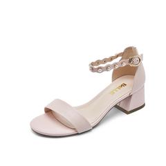 Belle/百丽专柜同款夏粉色胎牛皮革女皮凉鞋BGFA2BL7