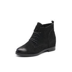 Belle/百丽2017冬季新品专柜同款黑色磨砂牛皮女短靴BOB41DD7