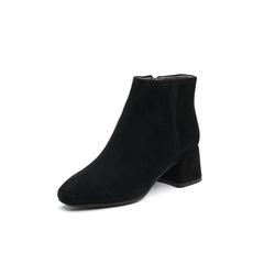 Belle/百丽2017冬季新品专柜同款黑色羊绒皮女短靴BPC40DD7
