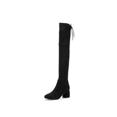 Belle/百丽冬季专柜同款黑色羊绒皮高筒靴女皮靴BUE80DC7