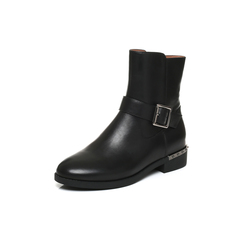 Belle/百丽2017冬黑色休闲舒适油皮牛皮女中靴3C3Y1DZ7