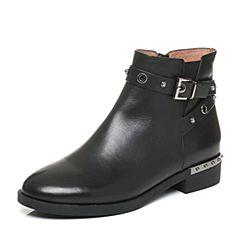 Belle/百丽2017冬黑色经典油皮牛皮女短靴3C3Y3DD7