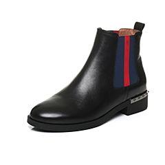 Belle/百丽2017冬黑色时尚休闲切尔西油皮牛皮女皮靴3C3Y4DD7