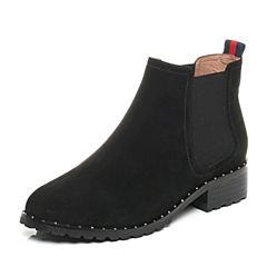 Belle/百丽2017冬黑色时尚切尔西靴羊绒皮女短靴BQU53DD7