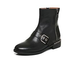 Belle/百丽2017冬黑色时尚酷感油皮牛皮女短靴3C3W9DD7