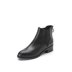 Belle/百丽冬季专柜同款黑色牛皮/橡筋女短靴R7W1DDD7