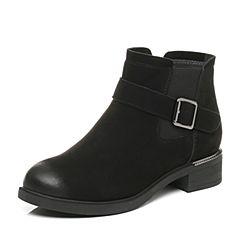 Belle/百丽2017冬新品黑色休闲舒适羊皮女短靴87202DD7