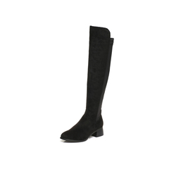 Belle/百丽2017冬黑色时尚简约纺织品女皮靴99808DC7