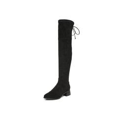 【11.11】Belle/百丽2017冬黑色优雅时尚纺织品女长靴99806DC7