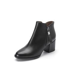 Belle/百丽2017冬季新品专柜同款黑色牛皮女短靴BRB42DD7