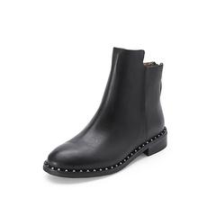 Belle/百丽2017冬季新品专柜同款黑色牛皮女短靴BKD53DD7