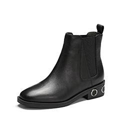 Belle/百丽2017冬季新品专柜同款黑色牛皮女短靴BQV58DD7