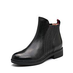 Belle/百丽2017冬季新品专柜同款黑色牛皮女短靴BVE44DD7