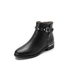 Belle/百丽2017冬季新品专柜同款黑色牛皮女短靴3C3W3DD7