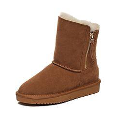 Belle/百丽2017冬棕色简约雪地靴牛剖层皮女中靴05826DZ7