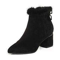 Belle/百丽2017冬季新品专柜同款羊绒皮革/兔毛皮女皮靴(绒里)R7E1DDD7