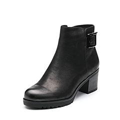 Belle/百丽2017冬季新品专柜同款黑色打蜡磨砂牛皮女皮靴(绒里)R7V3DDD7