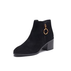 Belle/百丽2017冬季新品专柜同款黑色羊绒皮女短靴R7X2DDD7