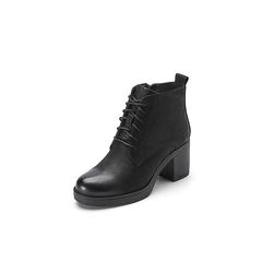 Belle/百丽冬季专柜同款黑色磨砂牛皮女短靴R8A1DDD7