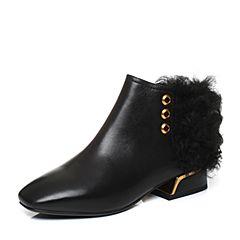 Belle/百丽2017冬黑色时尚帅气油皮小牛皮女短靴BVN44DD7