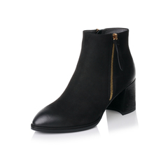 【11.11】Belle/百丽2017冬黑色优雅知性磨砂牛皮女短靴BWH44DD7
